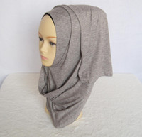 arabic head scarf - Fashion Muslim Hijab Arabic Style Plain Cotton Jersey Solid Color Shawl Scarf Head Wrap Long Scarves