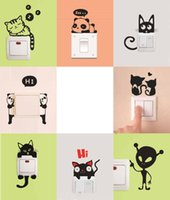Wholesale DIY Funny Cute Cat Dog Animal Switch Stickers for living room kids bedroom Wall Stickers Home Decor