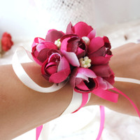 al por mayor ornamento de la mano-Venta al por mayor-2016 boda adornos de seda nupcial de dama de honor a mano mano Bouquet flores corsés muñeca 5Color 1pcs