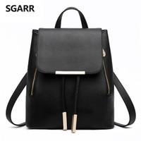 Venta al por mayor-SGARR Mochilas Mujer Solid Fashion School Bag Para Adolescentes De Alta Calidad De Cuero PU Vintage Mochila Bolsas De Viaje