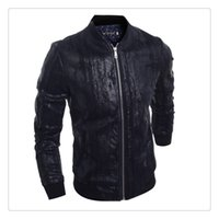 Wholesale Leather Jackets for Men Autumn winter Zipper Stand Collar Men s Gentleman Formal Leather Jackets US Size XS L