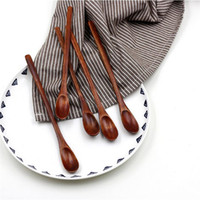 Wholesale bag Water craft pure color Long Flat Wooden Handle Coffee Spoon Stir Machilus Material Dessert Spoons