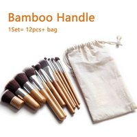 Wholesale Professional High Quality Bamboo Handle Wood Makeup Brush Set Goat Hair Cosmetic Brushes Kit With Bag Make Up Tools Portable DHL Free