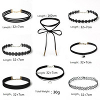 Wholesale Necklaces Multi Layer Tattoo Choker Necklace Charm Long Tassel Adjustable Pendants Necklaces for Women Black Lace Chokers