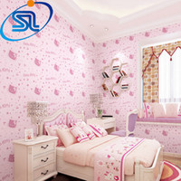 baby girl wallpaper - romantic lovely hello kitty d wallpaper for baby kids children girl room papel de parede non woven