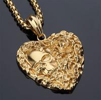 achat en gros de parfaits cadeaux valentine-Love Heart Collier pendentif squeletté humain 18K Real Gold / Platinum Plaated Fashion Hip hop Hommes / Femmes Bijoux Perfect Valentine Gift