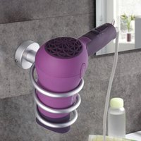 Wholesale HOT sale Spiral Blow Hair Dryer Stand Flat Holder Wall Mounted Hang Holder for Hair Dryer Organizer New Freeshipping