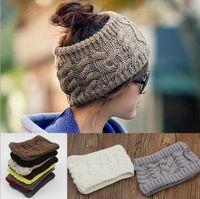 Wholesale Ponytail Knit Hats Autumn Winter Fashion Beanie Classic Knitted Hat Unisex Cap Winter Beanie Headgear Headdress Head Warmer Top Quantity