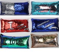 Wholesale Sequin Pillow Sofa Cushion Cover Pillow Case Double Color Pillowslip Case cover Reversible Sequin Mermaid pillow case LJJK620