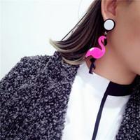 Wholesale Tide brand exaggerated acrylic flamingo individuality women s earrings jewelry earrings