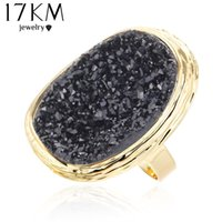 achat en gros de femmes chaudes de bijoux en or-17KM 2016 Hot Stone Stone Rings 4 couleurs Big Gold Couleur ajustable Ring Midi bague Love Wedding Rings for Women Bijoux