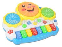 bass drum light - Animal Farm Piano Music Toy Light up Music Smile Hand Drum Childhood Learning Toys Musical