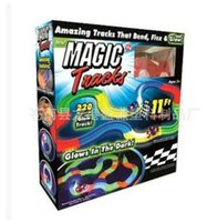 Wholesale 2017 new Magic tracks glows in the dark electric children toy car DIY assembled suit TV children railcar Christmas gifts