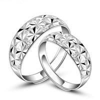 Anillos de bodas de los anillos de bodas 2pcs / set Anillos de plata del amor de la manera para los regalos de la Navidad del aniversario de boda del día de tarjeta del día de San Valentín