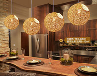 Wholesale Pendant lamps chandelier modern led lamp living room light hemp ball restaurant chandelier simple pastoral hemp woven rattan Chandelier