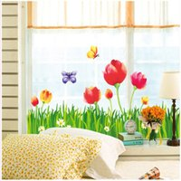 beautiful butterfly wallpapers - 60 cm Wall Stickers DIY Art Decal Removeable Wallpaper Mural Sticker AY9128 Beautiful Tulip Flowers and Butterfly