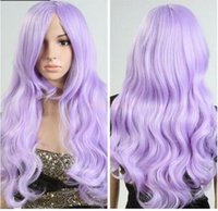 Wholesale gt gt gt new vogue Hot Sell Women Lolita Light Purple Hair Long Wavy Curly Cosplay Party Full Wig Cap Gift
