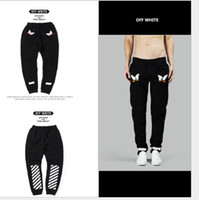 Wholesale Fashion OFF WHITE pants Embroidery Eagle black pants kanye west Virgil Abloh Men Women fleece sweatpants
