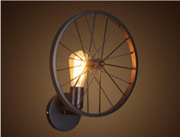 american humanities - Retro wall lamp loft creative humanity Restaurant Bar American country iron industry with wheel wall lamp light