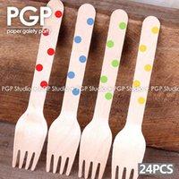 Wholesale PGP The Polka Dot Wooden Forks x For dessert Utensils Carnival Children s Day Kids Birthday Rainbow Easter Party