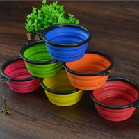 Wholesale Dog Cat universal Colorful Silicone Collapsible Feeding bowls for Pet Dog Water Feeder Bowl Pet Supplies Travel Dish Folding Dog Bowl PD012