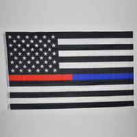 Wholesale 90 cm US Flags Blue Line USA Police Flags x5 Foot Thin Red Line Black White And Blue American Flag with Brass Grommets