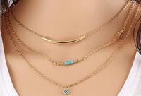 achat en gros de main fatima turquoise-La rue multi-couches a tiré la main de Fatima et les yeux de la chaîne des bijoux en turquoise à bijoux courts, la livraison gratuite