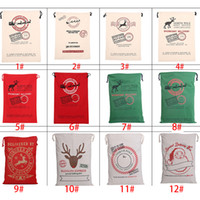 Wholesale Christmas Canvas Bags styles For Choose Santa Claus Drawstring Bags With Reindeers Cotton Christmas Gift Sack Bags XL X07