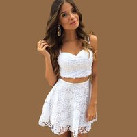 Wholesale Cute Women White Black Lace Dress Two Piece Summer Outfit Crop Top A line Mini Dress Elegant Evening Party Prom Dresses ZSJF0452