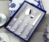 Wholesale Blue and white porcelain tableware set Chinese style Four sets of chopsticks and spoon and fork Creative gifts
