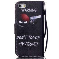 al por mayor diseños cartera iphone-Advertencia No toque mi diseño de teléfono PU Puente de cuero Flip Carpeta de tarjeta de titular de la bolsa Funda para el iPhone de Apple 5 5G 5S SE Shell de protección