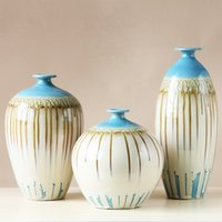 Wholesale Uneven Glazed Ceramic Porcelain Tabletop Vase Collection Set with Chinese Liquid leaking Effect Design D0751423