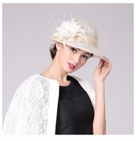 Wholesale High quality dinner party noble type formal hats cap for lady Wedding Sinamay feather flower fashion Hat Church Women Hat