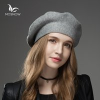 Wholesale Mosnow New Wool Cashmere Winter Hat Womens Warm Brand Casual High Quality Women S Vogue Knitted Hats For Girls Berets