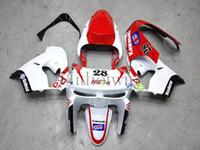 achat en gros de zx9r carénages blanc rouge-Ensemble de carrosserie en plastique ABS Pour Kawasaki ZX-9R 1998-1999 ZX9R 98 99 rouge blanc Carénage Aftermarket