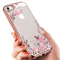 Luxury Flora Diamond Bling Мягкие TPU Открытый Задняя панель телефона Секретный Сад Цветы дело для Iphone 5 6s 6 плюс 7 7 плюс Samsung 6 6 edge 7