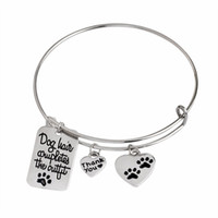 american complete - Lovely Paw Prints charm Bracelet quot Dog Hair Completes the Outfit quot Dog Tag Heart Shape Charm Bangle Pet Lover Jewlry
