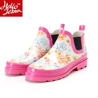 Wholesale Rain Boots Women Waterproof Fashion Jelly Girls Ladies Ankle Rubber Boots Summer Elastic Band Pink Flower Rainday Water Shoes Ink Painting