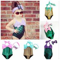 Bikinis Girl Children's Day Kids Mermaid Swimsuit Baby Bodysuit Costume Girls Swimwear Mermaid Tail Bikini Set Swimmable Bathing Suit Monokini Bowknot Beachwear B1572