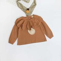 Wholesale Girls Tops Kids Clothing Spring Lotus Leaf Collar Shirt Fashion Long Sleeve Linen Top EC