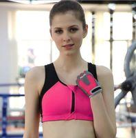 Wholesale Yoga bra running fitness front zipper sports bra underwear vest gather