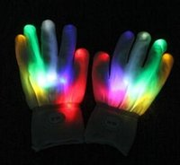 party   Free shipping 7Modes Magic white glove Rainbow Flash Fingertip LED Gloves Unisex Light Up Glow Stick Gloves Mittens Hot