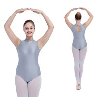 Leotards & Unitards ballet practices - Ballet Dance Nylon Lycra Turtle Neck Tank Leotards Back Hole for Ladies and Girls Practice Full Sizes Colors Available