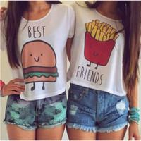 best fried - Women T shirt Short Sleeve Crop Top Hamburger Fries BEST FRIEND Letter print T Shirt Hot Sale Friendship Tops QA616