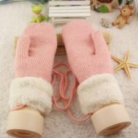 Cheap Mittens Twist decoration knitted velvet thickeni Best Polyester Woman student gloves