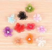 Wholesale Handmade DIY lace floral fabric flowers jewelry accessories shoes flowers material satin flowers