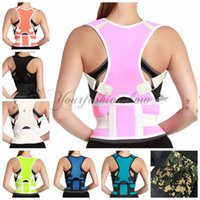 Wholesale Fedex DHL Free Adjustable Back Brace Posture Corrector Neoprene Back Shoulder Corrector Support Brace Belt Body Stretch colors Z627