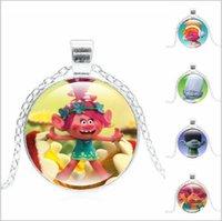 Wholesale Hot sales color Trolls Necklace Unisex Trolls Alloy Sweater Necklace Pendant Necklace Kids Christmas Gift TA125