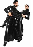 Wholesale Unisex Men Women Catsuit Fashion sexy plus size punk Clubwear pvc faux leather long sleeves gothic long coat