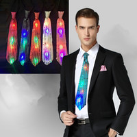 Wholesale New Fashion Light Up LED Luminous Sequin Neck Ties Changeable Colors Necktie Club Party Tie Flashing Tie FG004